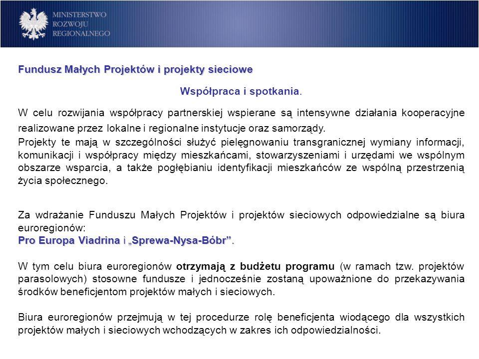 Fundusz Małych Projektów i projekty sieciowe Współpraca i spotkania. W celu rozwijania współpracy partnerskiej wspierane są intensywne działania koope
