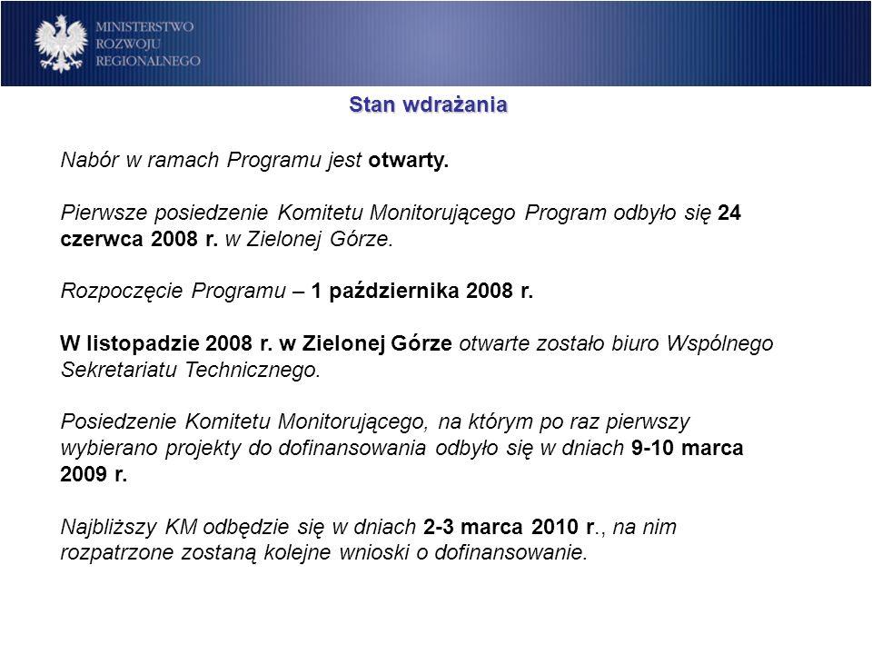 Stan wdrażania Nabór w ramach Programu jest otwarty. Pierwsze posiedzenie Komitetu Monitorującego Program odbyło się 24 czerwca 2008 r. w Zielonej Gór