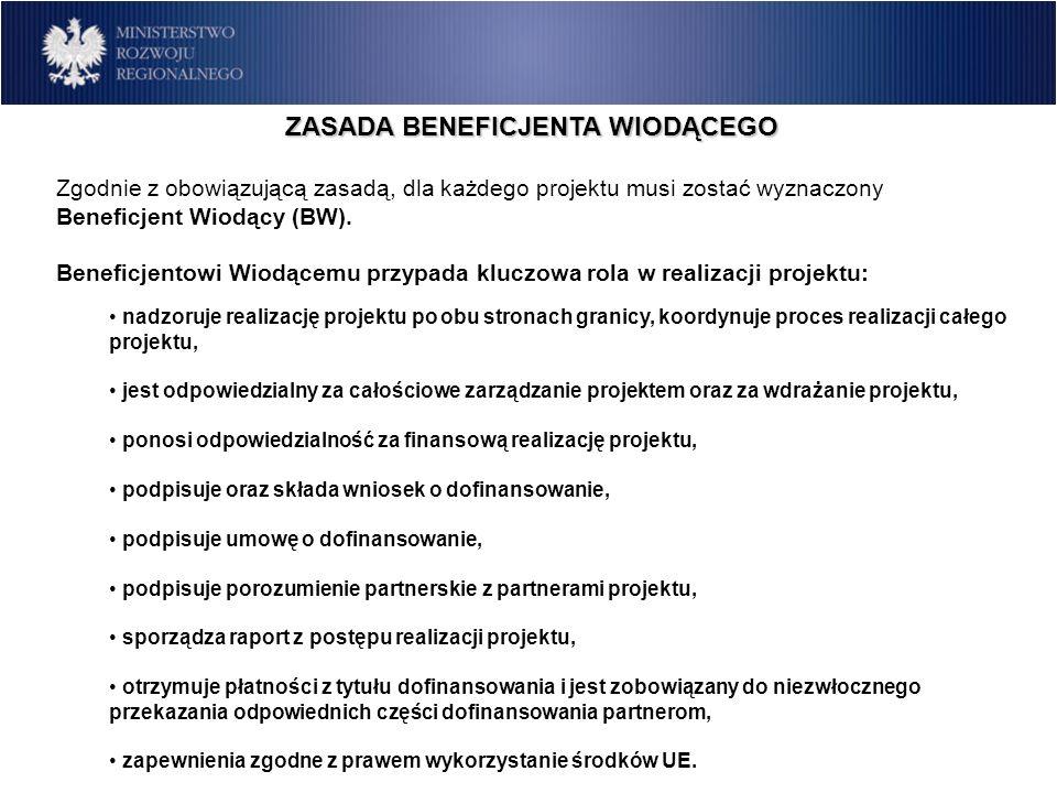 ZASADA BENEFICJENTA WIODĄCEGO Zgodnie z obowiązującą zasadą, dla każdego projektu musi zostać wyznaczony Beneficjent Wiodący (BW). Beneficjentowi Wiod