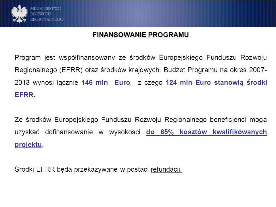 FINANSOWANIE PROGRAMU Program jest współfinansowany ze środków Europejskiego Funduszu Rozwoju Regionalnego (EFRR) oraz środków krajowych. Budżet Progr