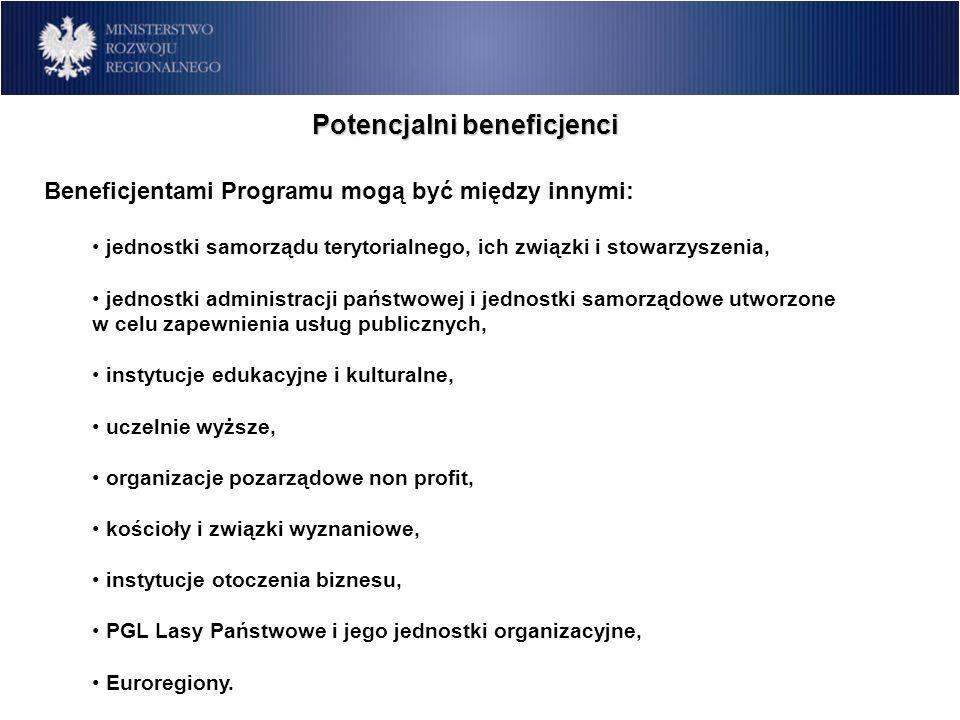 Beneficjentami Programu mogą być między innymi: jednostki samorządu terytorialnego, ich związki i stowarzyszenia, jednostki administracji państwowej i