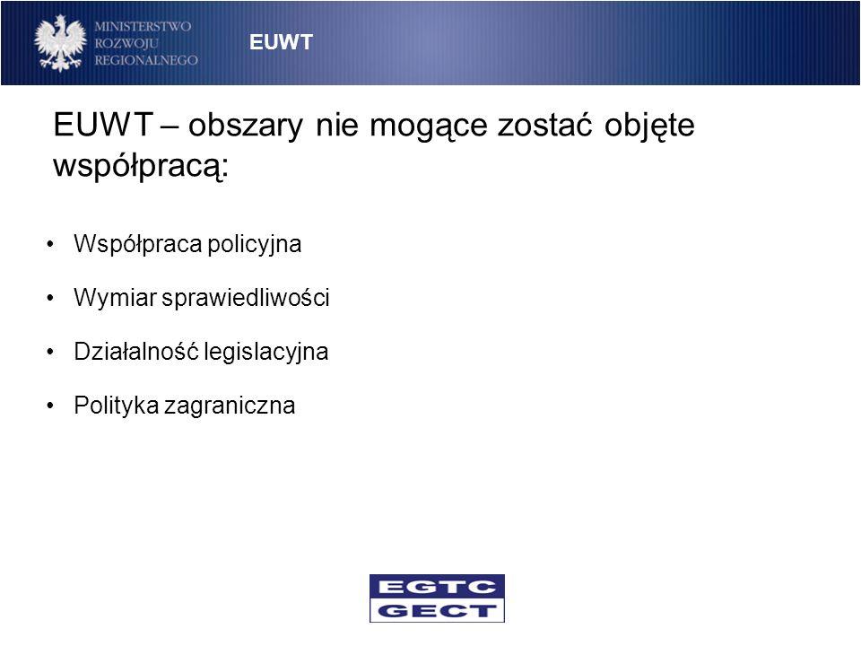 EUWT – obszary nie mogące zostać objęte współpracą: EUWT Współpraca policyjna Wymiar sprawiedliwości Działalność legislacyjna Polityka zagraniczna