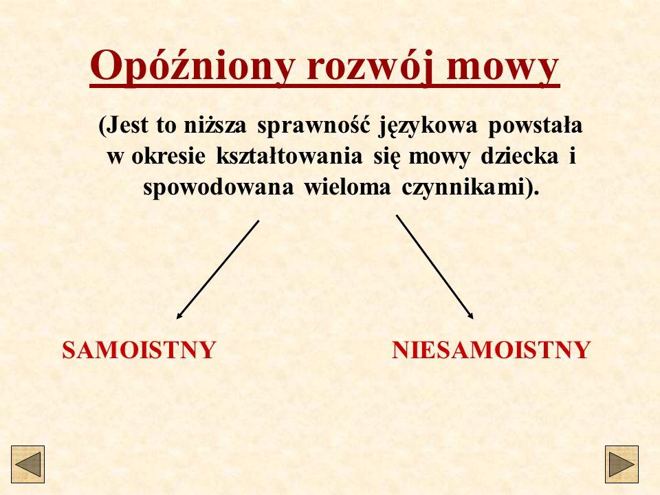 Opóźniony rozwój mowy SAMOISTNYNIESAMOISTNY (Jest to niższa sprawność językowa powstała w okresie kształtowania się mowy dziecka i spowodowana wieloma