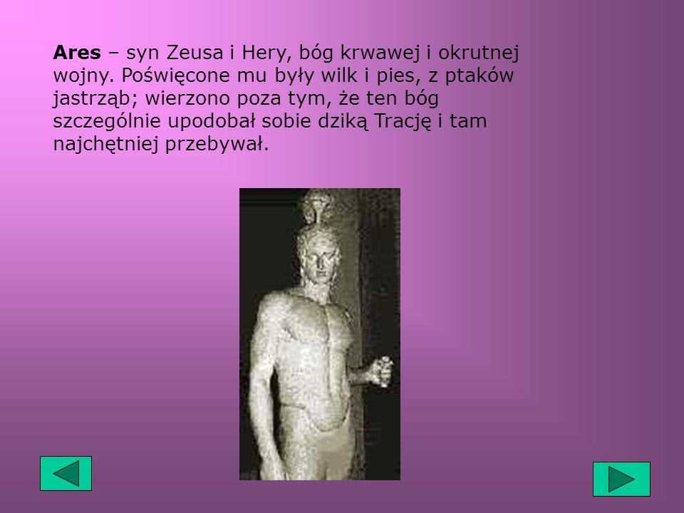 Afrodyta – bogini miłości, zrodzona z fal morskich, ośrodkami jej kultu były m. in Knidos, Pafos, Cypr. Mężem bogini był Hefajstos, którego nieustanni