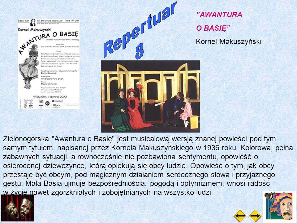AWANTURA O BASIĘ Kornel Makuszyński Zielonogórska Awantura o Basię jest musicalową wersją znanej powieści pod tym samym tytułem, napisanej przez Kornela Makuszyńskiego w 1936 roku.