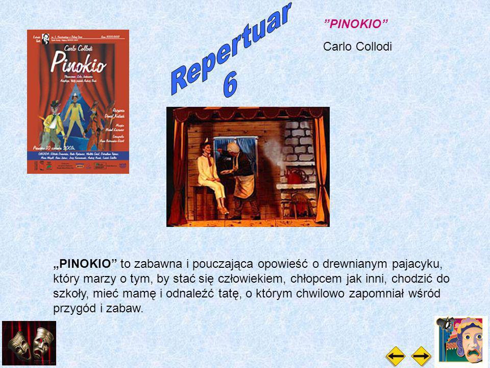 PINOKIO Carlo Collodi PINOKIO to zabawna i pouczająca opowieść o drewnianym pajacyku, który marzy o tym, by stać się człowiekiem, chłopcem jak inni, chodzić do szkoły, mieć mamę i odnaleźć tatę, o którym chwilowo zapomniał wśród przygód i zabaw.