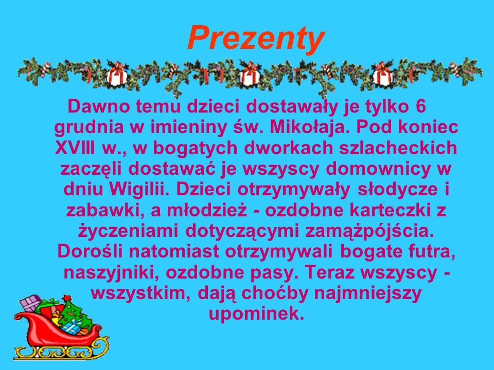 KOLĘDY Nieodłączną częścią wieczoru wigilijnego było i jest wspólne śpiewanie kolęd przy Bożonarodzeniowej szopce. Pieśni opowiadających o narodzeniu