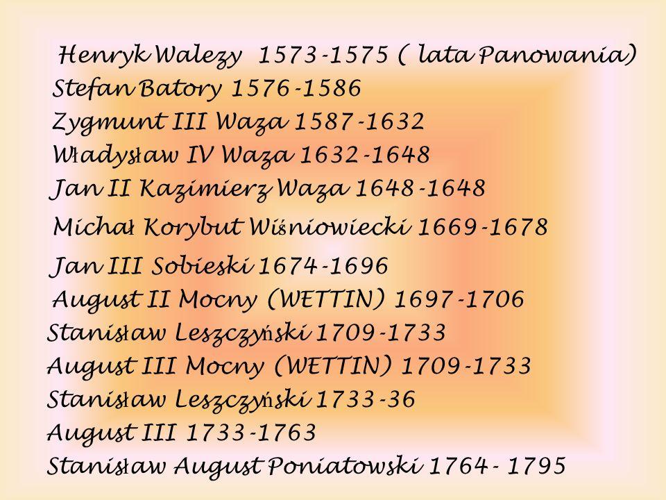 Henryk Walezy 1573-1575 ( lata Panowania) Stefan Batory 1576-1586 Zygmunt III Waza 1587-1632 W ł adys ł aw IV Waza 1632-1648 Jan II Kazimierz Waza 164
