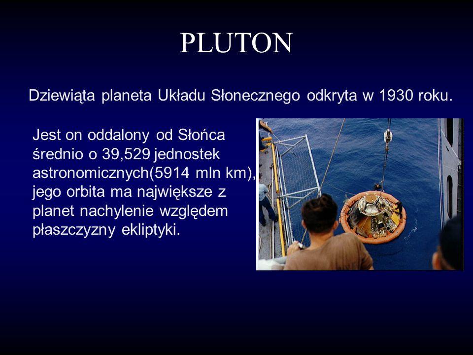 NEPTUN Ósma wg oddalenia od Słońca planeta Układu Słonecznego. Neptun jest widoczny przez teleskop jako maleńka tarcza, o jasności wizualnej ok. 8 m,0