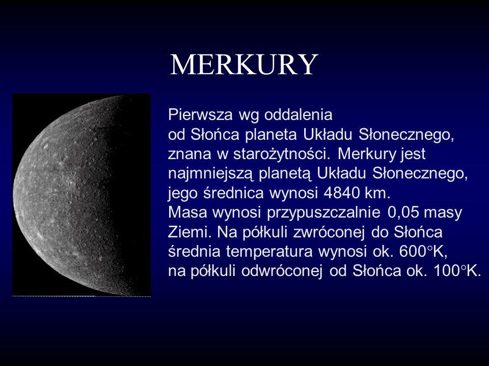 MERKURY Pierwsza wg oddalenia od Słońca planeta Układu Słonecznego, znana w starożytności.