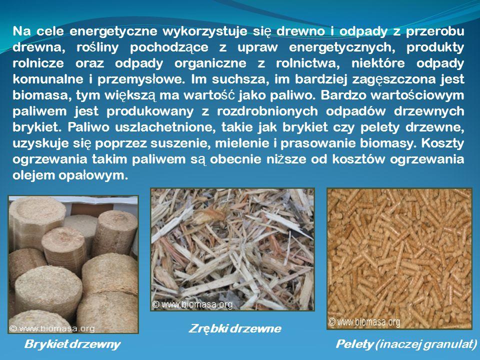 Na cele energetyczne wykorzystuje si ę drewno i odpady z przerobu drewna, ro ś liny pochodz ą ce z upraw energetycznych, produkty rolnicze oraz odpady