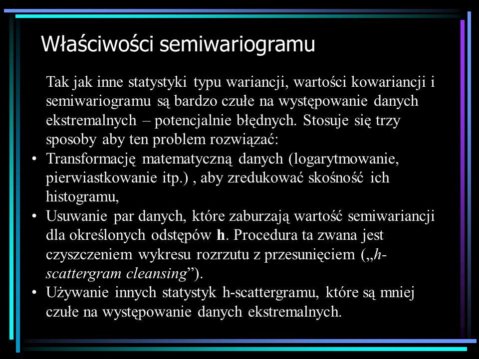 Właściwości semiwariogramu Tak jak inne statystyki typu wariancji, wartości kowariancji i semiwariogramu są bardzo czułe na występowanie danych ekstre