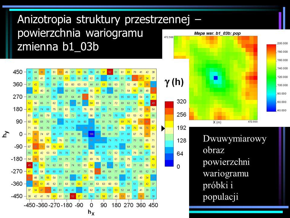 Anizotropia struktury przestrzennej – powierzchnia wariogramu zmienna b1_03b Dwuwymiarowy obraz powierzchni wariogramu próbki i populacji
