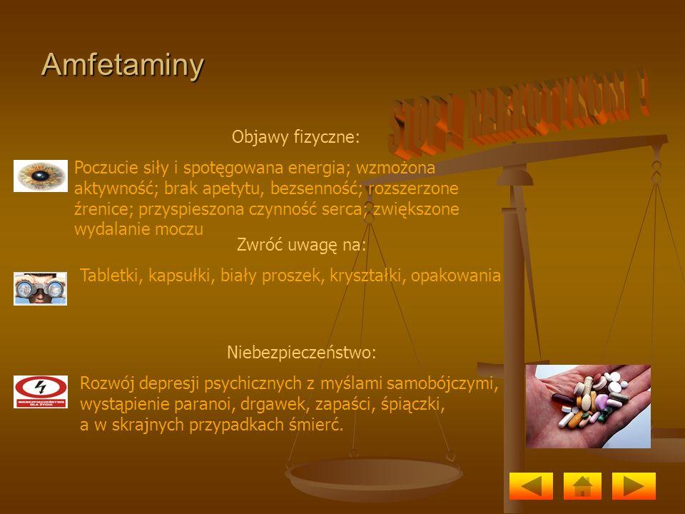 Amfetaminy Objawy fizyczne: Poczucie siły i spotęgowana energia; wzmożona aktywność; brak apetytu, bezsenność; rozszerzone źrenice; przyspieszona czyn
