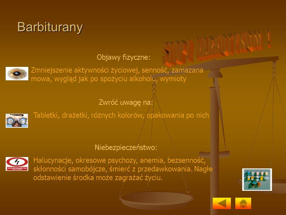 Barbiturany Objawy fizyczne: Zmniejszenie aktywności życiowej, senność, zamazana mowa, wygląd jak po spożyciu alkoholu, wymioty Zwróć uwagę na: Tablet