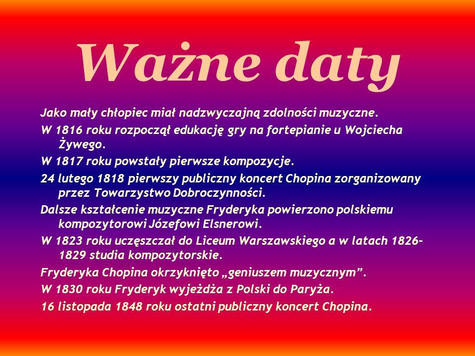 Ważne daty Jako mały chłopiec miał nadzwyczajną zdolności muzyczne. W 1816 roku rozpoczął edukację gry na fortepianie u Wojciecha Żywego. W 1817 roku