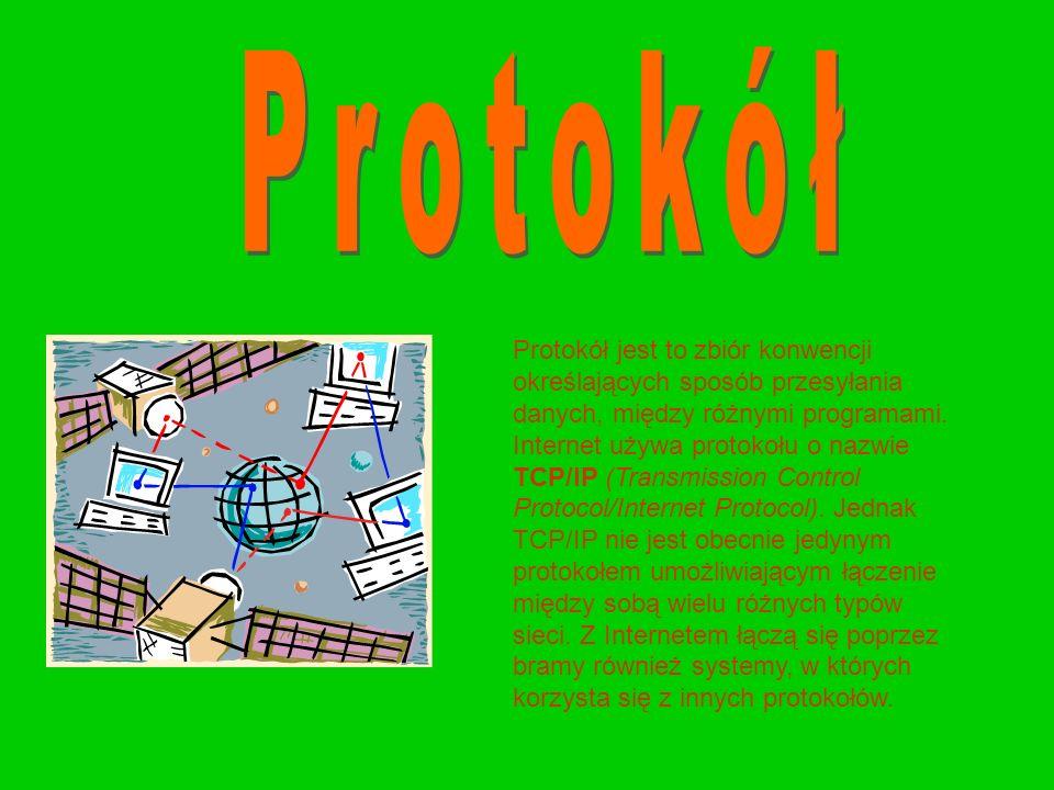 Protokół jest to zbiór konwencji określających sposób przesyłania danych, między różnymi programami. Internet używa protokołu o nazwie TCP/IP (Transmi