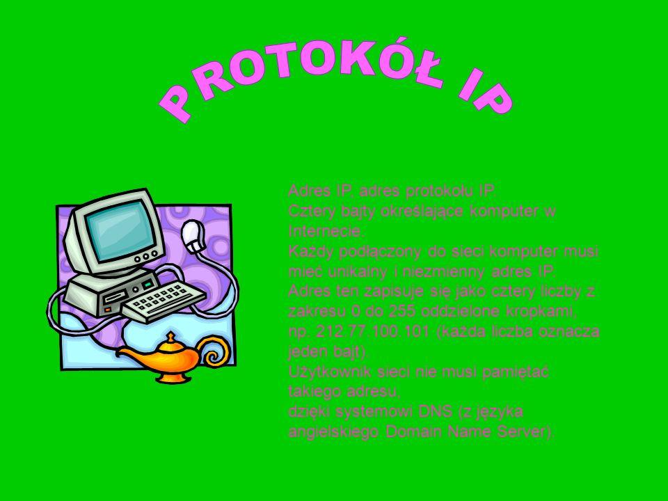 Adres IP, adres protokołu IP. Cztery bajty określające komputer w Internecie. Każdy podłączony do sieci komputer musi mieć unikalny i niezmienny adres