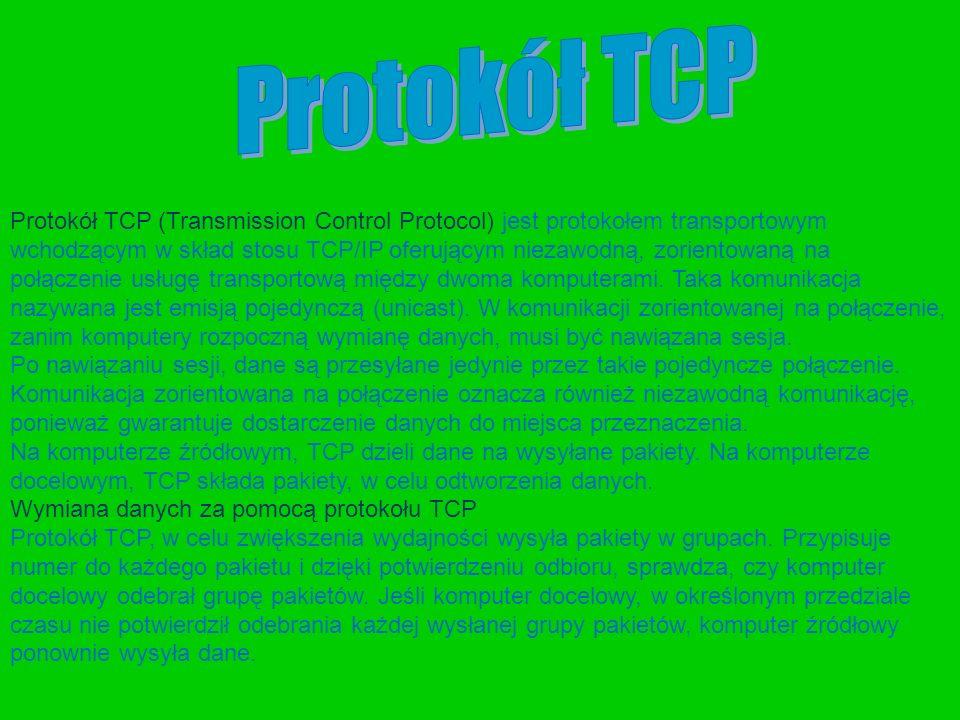 Protokół TCP (Transmission Control Protocol) jest protokołem transportowym wchodzącym w skład stosu TCP/IP oferującym niezawodną, zorientowaną na połą