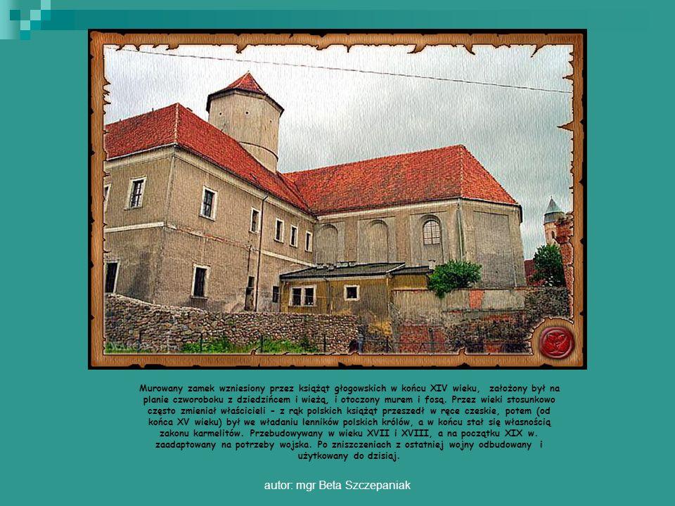 autor: mgr Beta Szczepaniak Murowany zamek wzniesiony przez książąt głogowskich w końcu XIV wieku, założony był na planie czworoboku z dziedzińcem i w