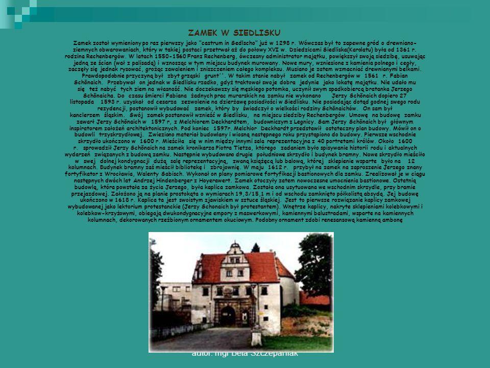 autor: mgr Beta Szczepaniak ZAMEK W SIEDLISKU Zamek został wymieniony po raz pierwszy jako