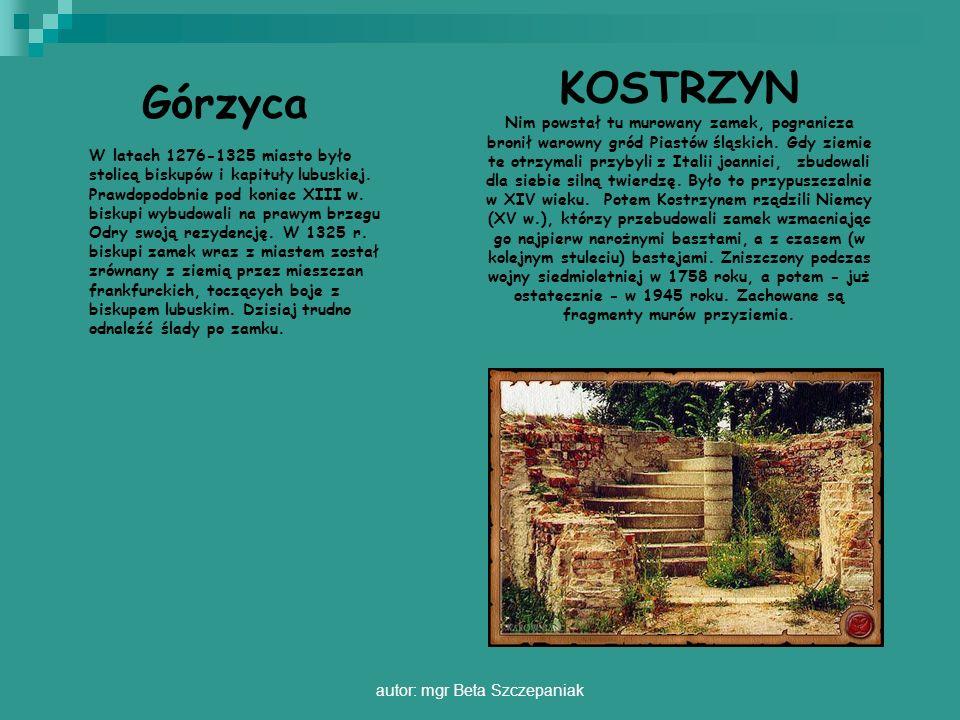 autor: mgr Beta Szczepaniak Górzyca W latach 1276-1325 miasto było stolicą biskupów i kapituły lubuskiej. Prawdopodobnie pod koniec XIII w. biskupi wy