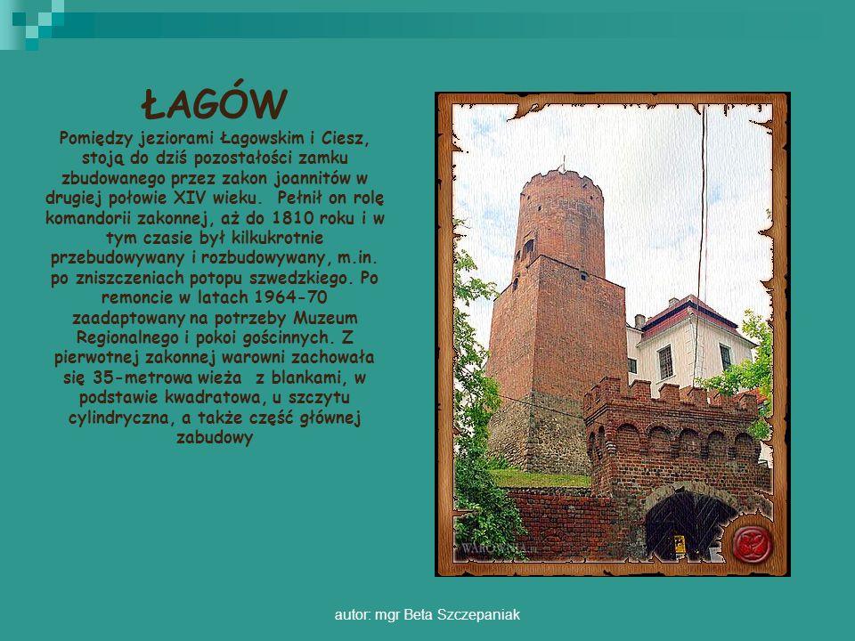 autor: mgr Beta Szczepaniak ŁAGÓW Pomiędzy jeziorami Łagowskim i Ciesz, stoją do dziś pozostałości zamku zbudowanego przez zakon joannitów w drugiej p