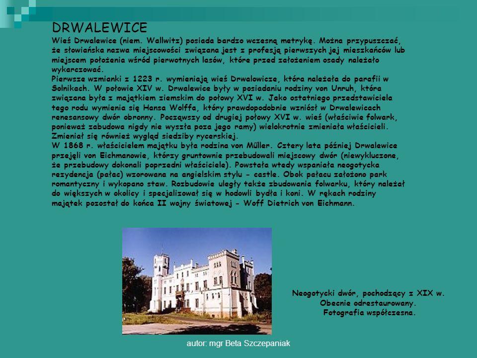 autor: mgr Beta Szczepaniak DRWALEWICE Wieś Drwalewice (niem. Wallwitz) posiada bardzo wczesną metrykę. Można przypuszczać, że słowiańska nazwa miejsc