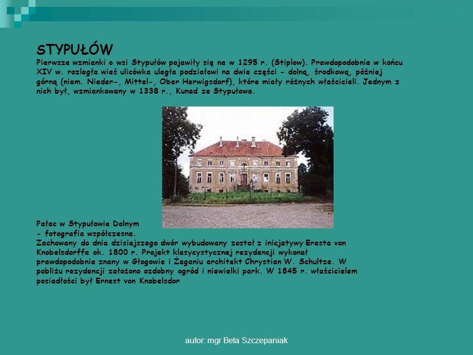 autor: mgr Beta Szczepaniak STYPUŁÓW Pierwsze wzmianki o wsi Stypułów pojawiły się na w 1295 r. (Stiplow). Prawdopodobnie w końcu XIV w. rozległa wieś