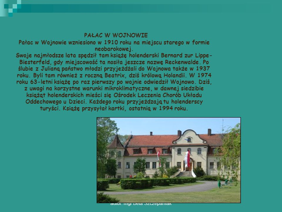autor: mgr Beta Szczepaniak PAŁAC W WOJNOWIE Pałac w Wojnowie wzniesiono w 1910 roku na miejscu starego w formie neobarokowej. Swoje najmłodsze lata s