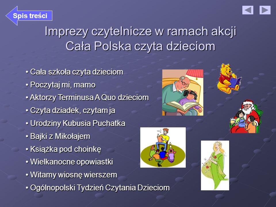 Imprezy czytelnicze w ramach akcji Cała Polska czyta dzieciom Cała szkoła czyta dzieciom Cała szkoła czyta dzieciom Poczytaj mi, mamo Poczytaj mi, mam