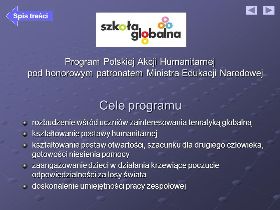 Program Polskiej Akcji Humanitarnej pod honorowym patronatem Ministra Edukacji Narodowej Cele programu rozbudzenie wśród uczniów zainteresowania temat