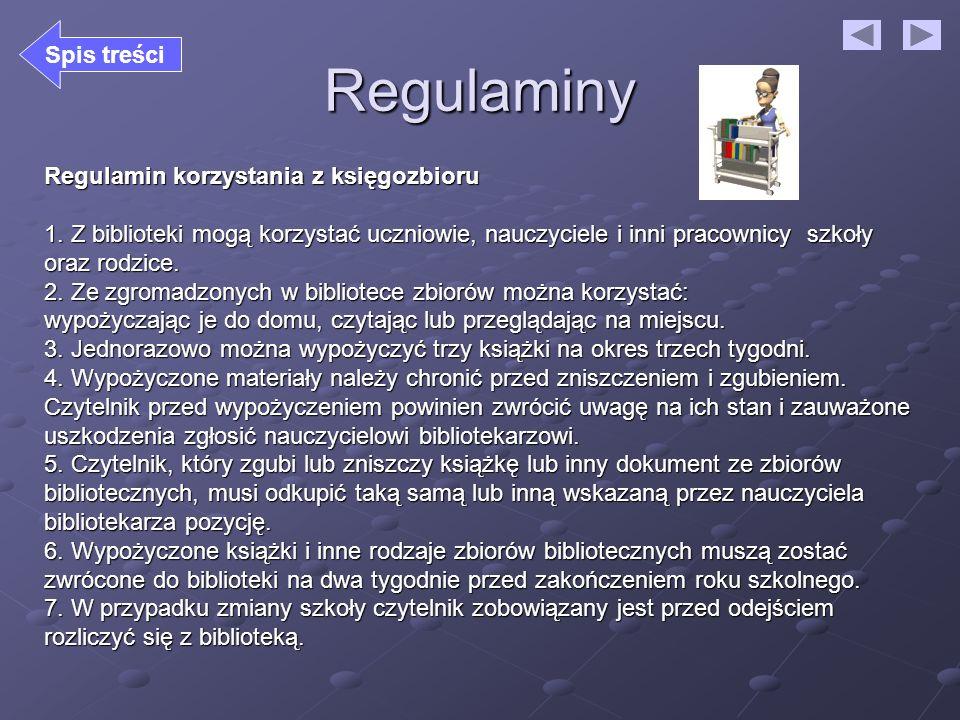 Regulaminy Regulamin korzystania z księgozbioru 1. Z biblioteki mogą korzystać uczniowie, nauczyciele i inni pracownicy szkoły oraz rodzice. 2. Ze zgr