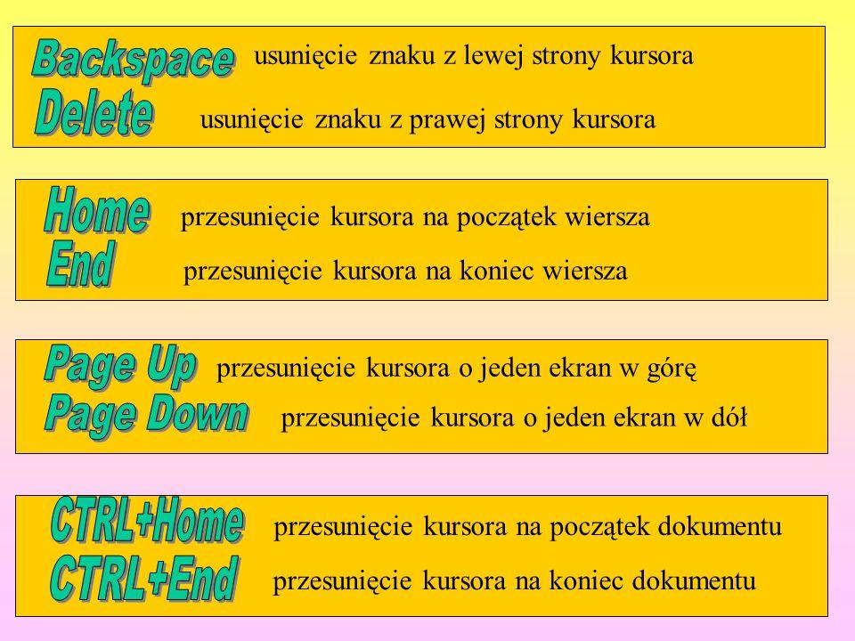 usunięcie znaku z lewej strony kursora usunięcie znaku z prawej strony kursora przesunięcie kursora na początek wiersza przesunięcie kursora na koniec