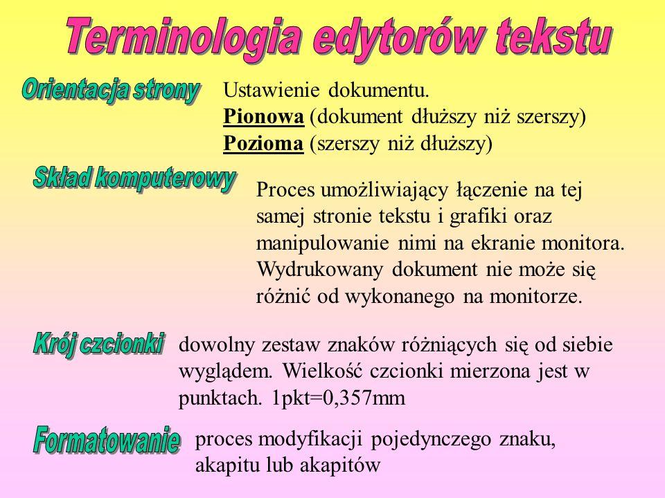 Terminologia edytorów tekstu dowolny zestaw znaków różniących się od siebie wyglądem. Wielkość czcionki mierzona jest w punktach. 1pkt=0,357mm proces