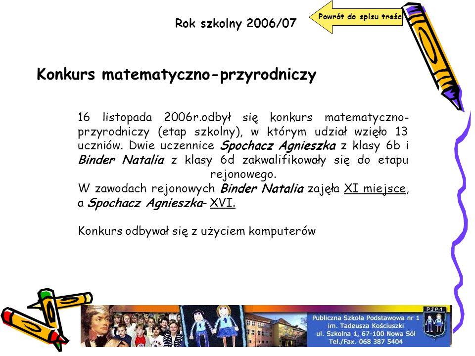 Rok szkolny 2006/07 Konkurs matematyczno-przyrodniczy 16 listopada 2006r.odbył się konkurs matematyczno- przyrodniczy (etap szkolny), w którym udział