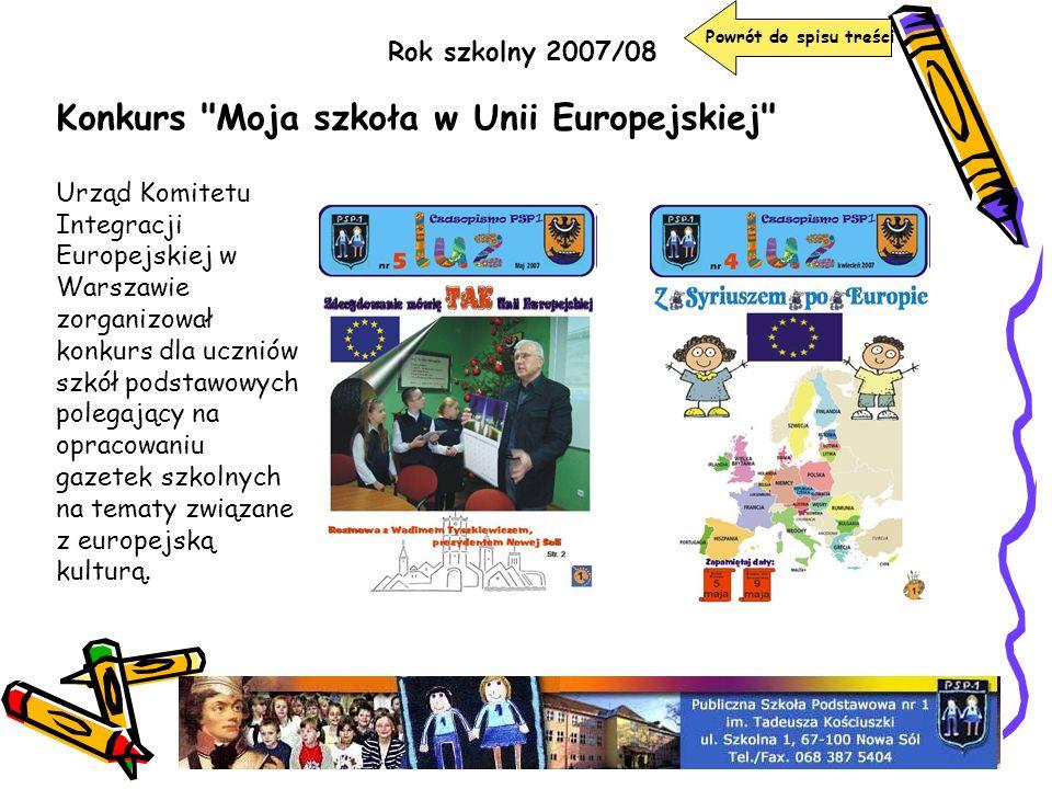 Powrót do spisu treści Rok szkolny 2007/08 Konkurs