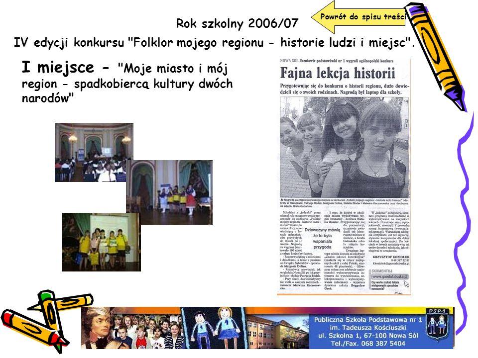 Rok szkolny 2006/07 Powrót do spisu treści IV edycji konkursu