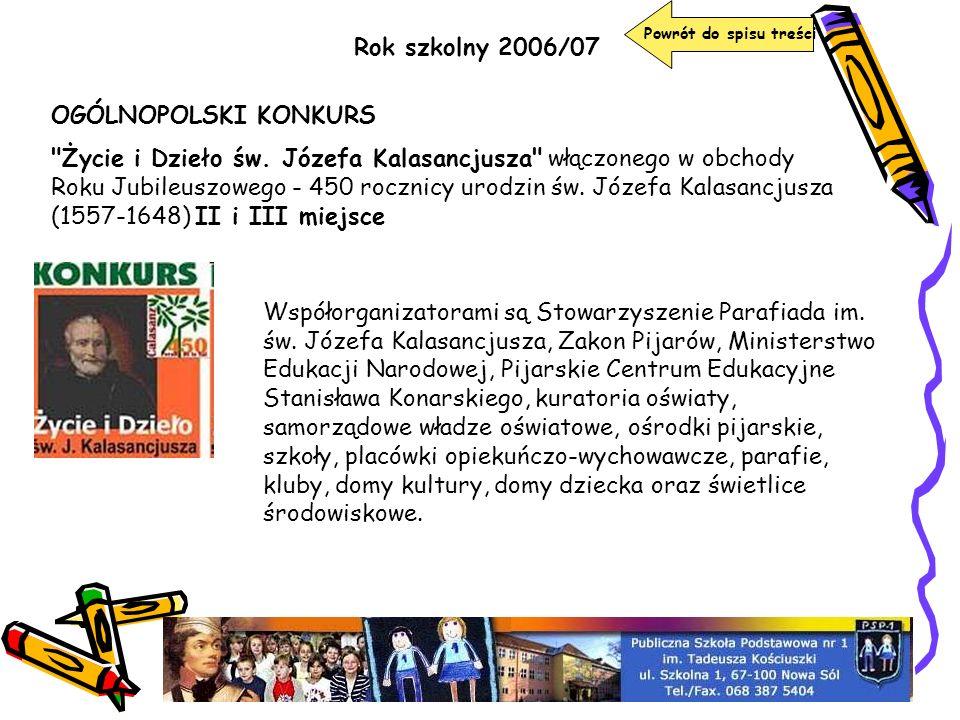 Rok szkolny 2006/07 Powrót do spisu treści OGÓLNOPOLSKI KONKURS