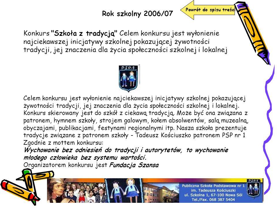 Rok szkolny 2006/07 Powrót do spisu treści Konkurs