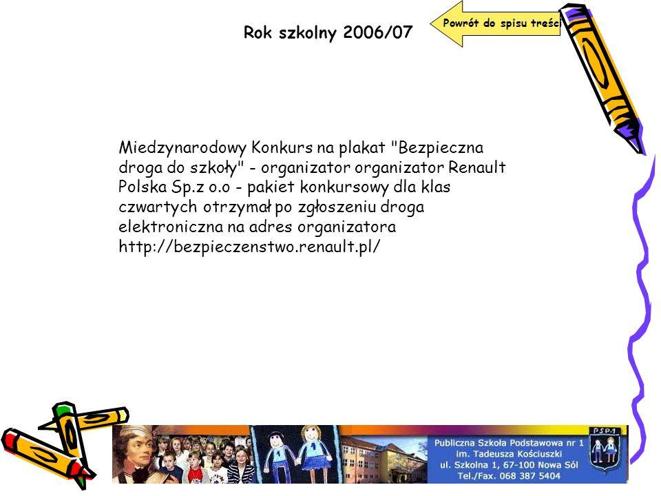Rok szkolny 2006/07 Miedzynarodowy Konkurs na plakat