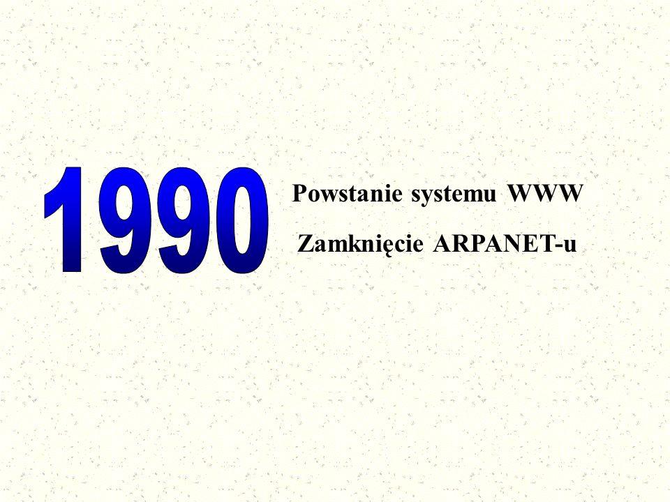 Historia Internetu w Polsce Pojawienie się sieci o nazwie EARN łączącej ośrodki akademickie Powstanie NASK-u Dołączenie do Internetu wydziału fizyki UW