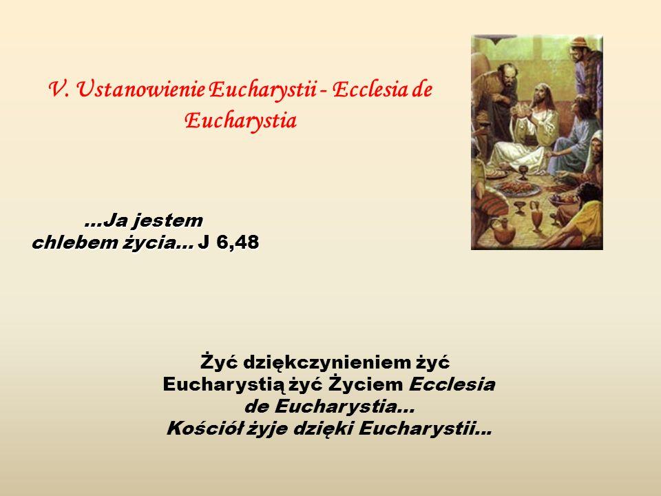 Żyć dziękczynieniem żyć Eucharystią żyć Życiem Ecclesia de Eucharystia... Kościół żyje dzięki Eucharystii... V. Ustanowienie Eucharystii - Ecclesia de