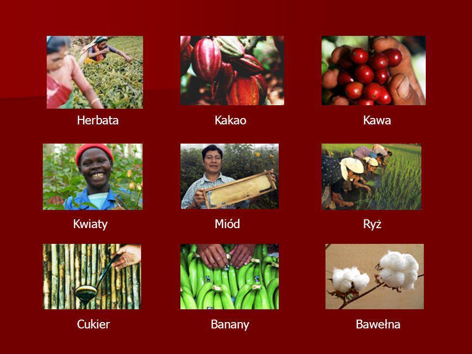 HerbataKakaoKawa KwiatyMiódRyż CukierBananyBawełna