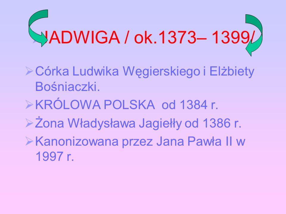 Dokonania królowej Jadwigi Jadwigi Fundacja wielu kaplic i ko ś cio ł ów Pomoc ludziom ubogim i chorym Wspieranie studentów Dzie ł o odnowienia Akademii Krakowskiej na rzecz której przekaza ł a swoje insygnia koronacyjne oraz kosztowno ś ci
