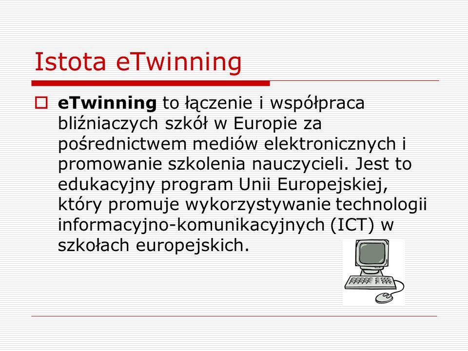 Istota eTwinning eTwinning to łączenie i współpraca bliźniaczych szkół w Europie za pośrednictwem mediów elektronicznych i promowanie szkolenia nauczycieli.