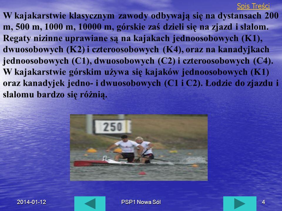 2014-01-12PSP1 Nowa Sól4 W kajakarstwie klasycznym zawody odbywają się na dystansach 200 m, 500 m, 1000 m, 10000 m, górskie zaś dzieli się na zjazd i