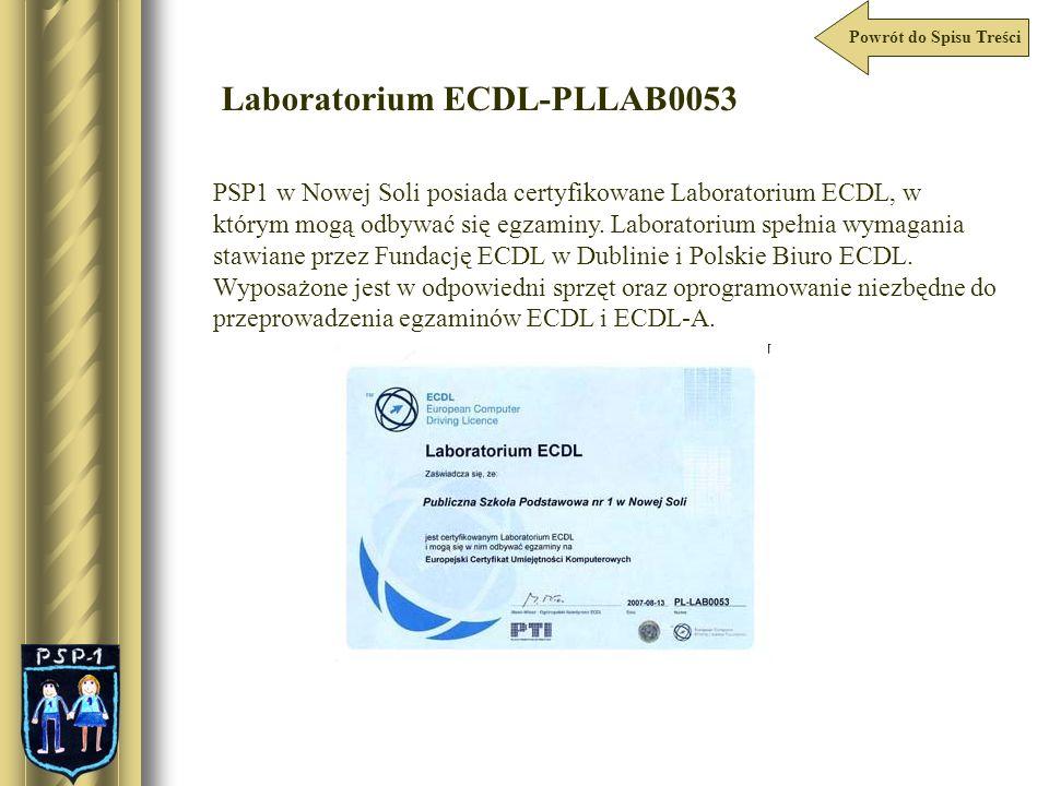 Powrót do Spisu Treści Laboratorium ECDL-PLLAB0053 PSP1 w Nowej Soli posiada certyfikowane Laboratorium ECDL, w którym mogą odbywać się egzaminy. Labo