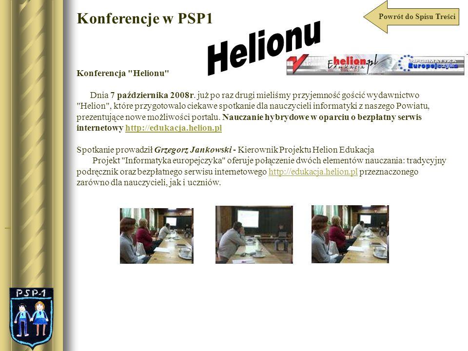 Powrót do Spisu Treści Konferencje w PSP1 Konferencja