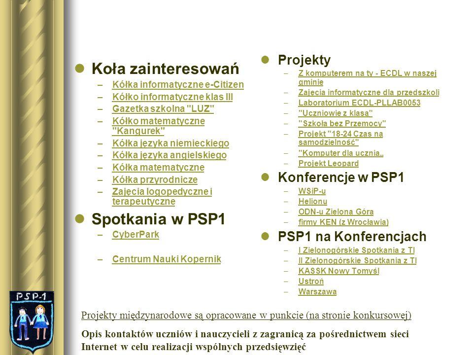 Koła zainteresowań na których wykorzystywane są komputery i urządzenia multimedialne Kółka informatyczne e-Citizen W styczniu br.